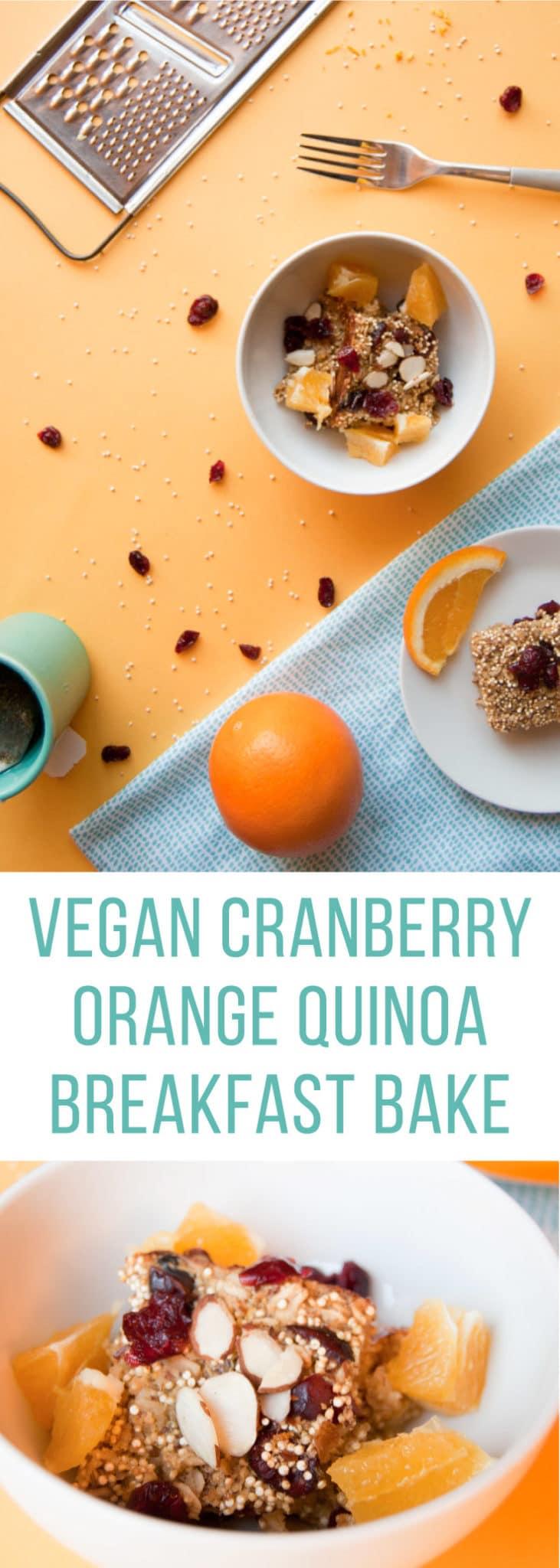 Cranberry Orange Quinoa Breakfast Bake -- Start your day right with this vegan gluten free breakfast recipe. | mindfulavocado