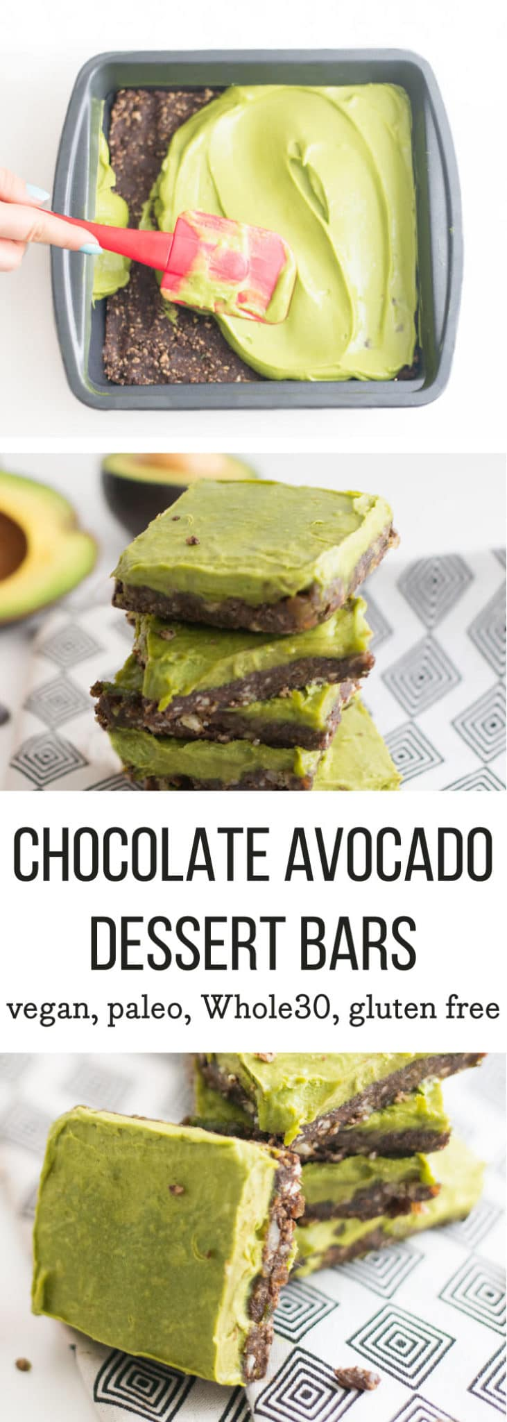 Chocolate Avocado Bars -- Creamy, chocolatey avocado bars are a healthy dessert without sacrificing flavor. These vegan, gluten free bars are everything. | mindfulavocado