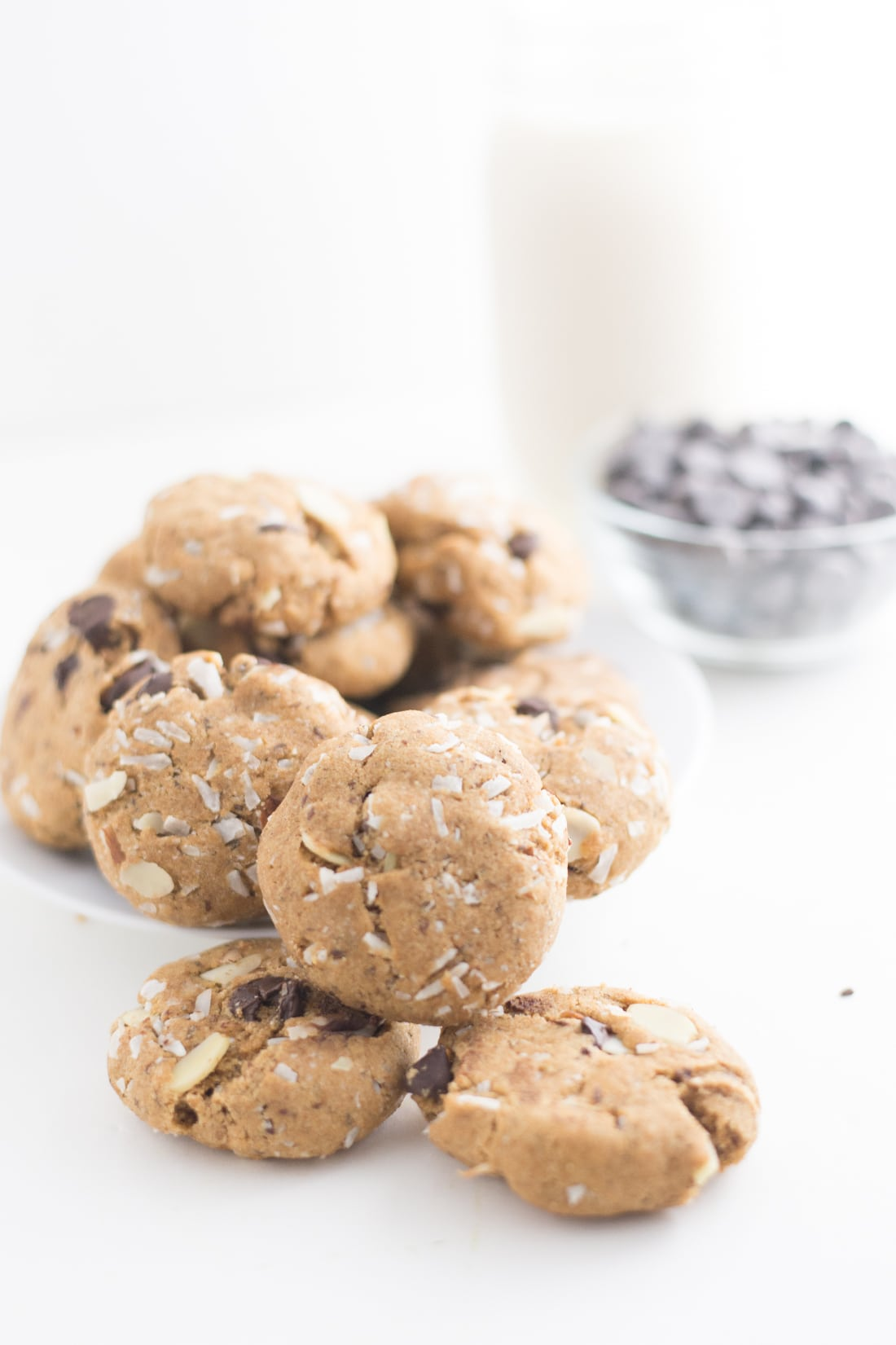 Vegan Coconut Almond Chocolate Chip Cookies -- These cookies are to die for and call for simple ingredients, making them a simple and delicious treat. - mindfulavocado