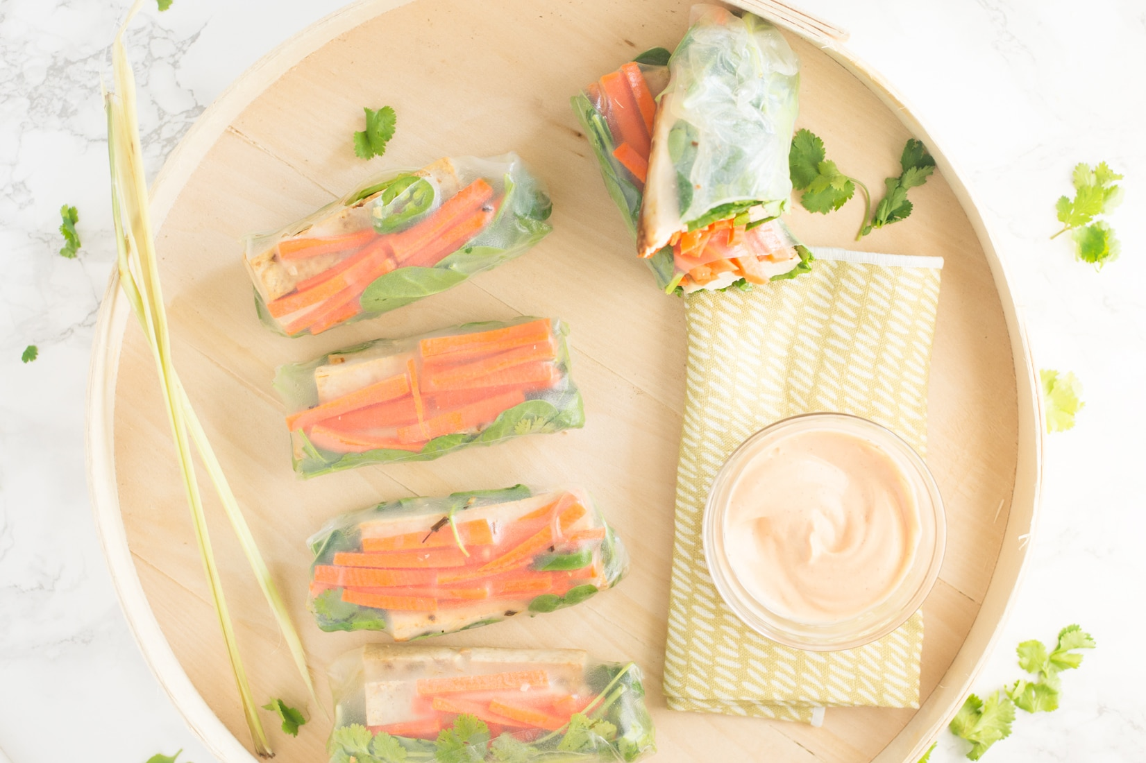 Banh Mi Spring Rolls with Lemongrass Tofu -- Make these spring rolls for a healthy lunch on the go that's naturally vegan and gluten free - mindfulavocado