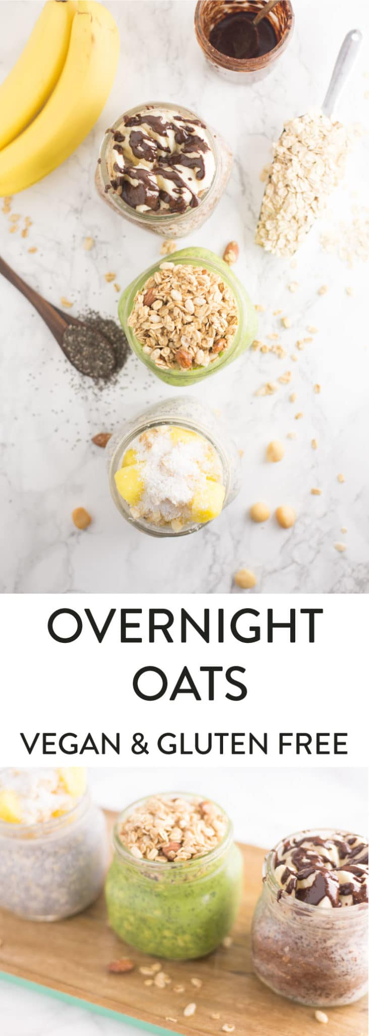 Easy Overnight Oats 3 ways -- Spinach and mango, pineapple and coconut, and nutella with bananas! Just three ingredients to make the base of this nutritious breakfast for a quick and easy plant based meal - mindfulavocado