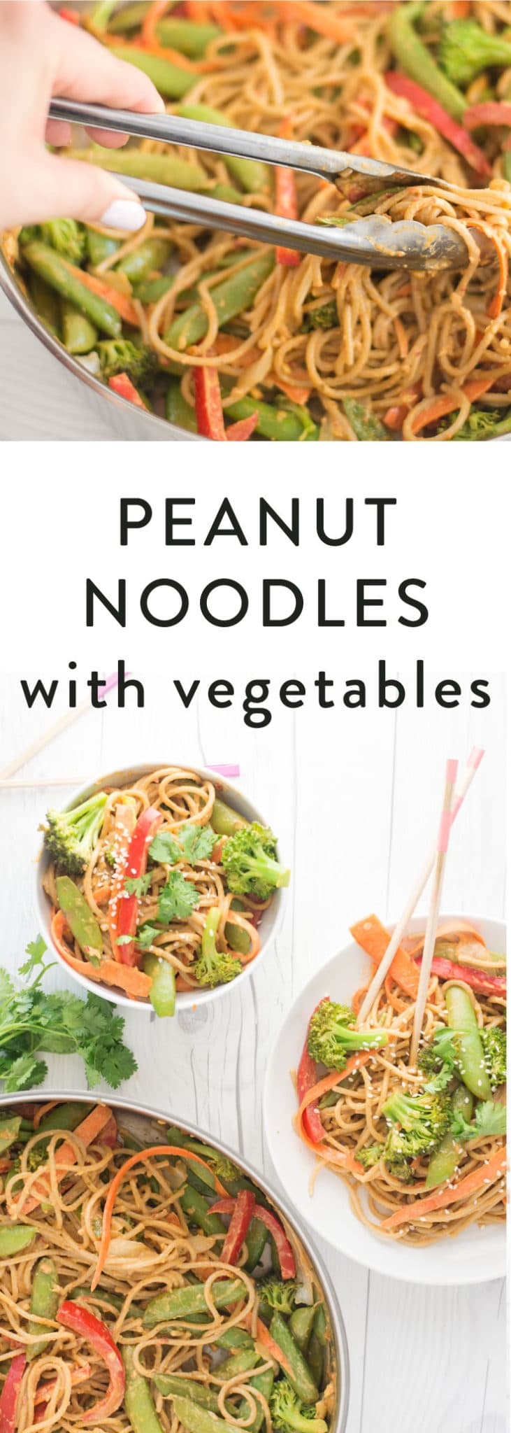 Peanut Noodles with Vegetables -- This quick and easy vegan meal is not only healthy, but perfect for lunch or dinner! - mindfulavocado