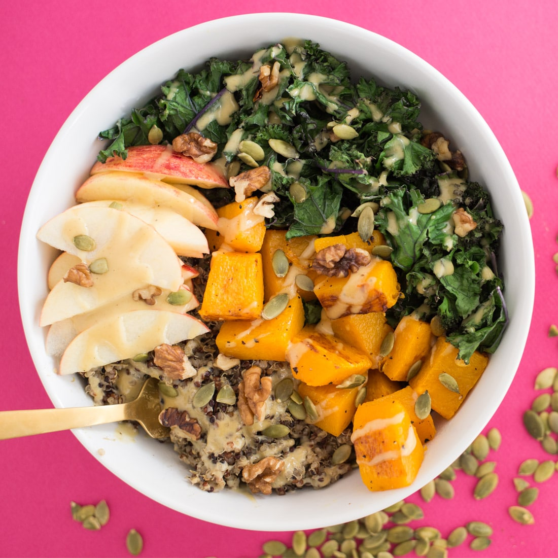 Autumn Buddha Bowls -- Buddha bowls are the perfect wholesome meal that are nourishing and healthy. This buddha bowl recipe is perfect for chilly fall weather. With good for you ingredients like kale and quinoa, you got to give this healthy vegan recipe a try   mindfulavocado