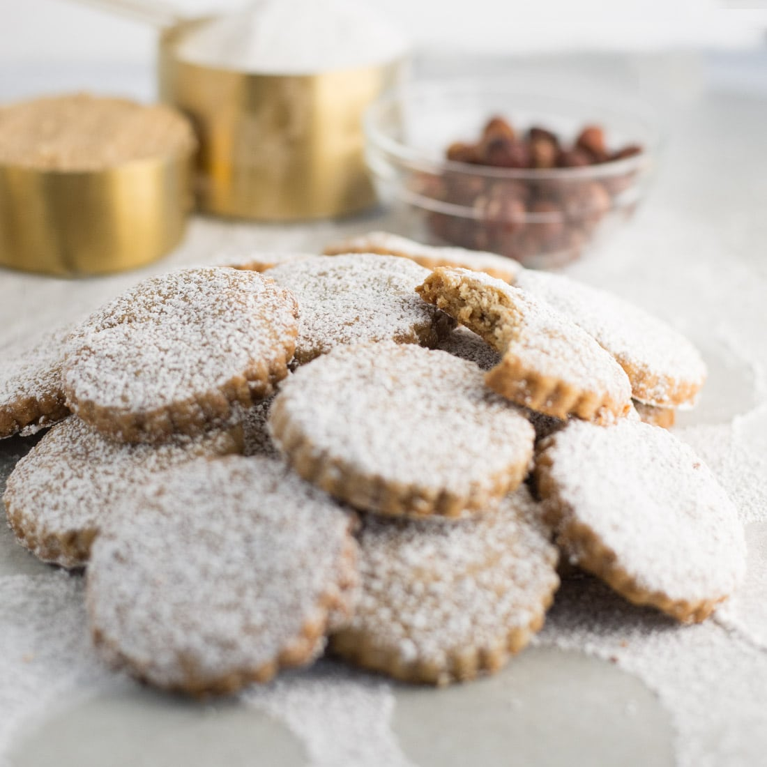Hazelnut Shortbread Cookies -- This classic shortbread cookie recipe gets an upgrade! Packed with toasted hazelnuts, these cookies are full of flavor. Try this cookie recipe for to share with family and friends. | mindfulavocado