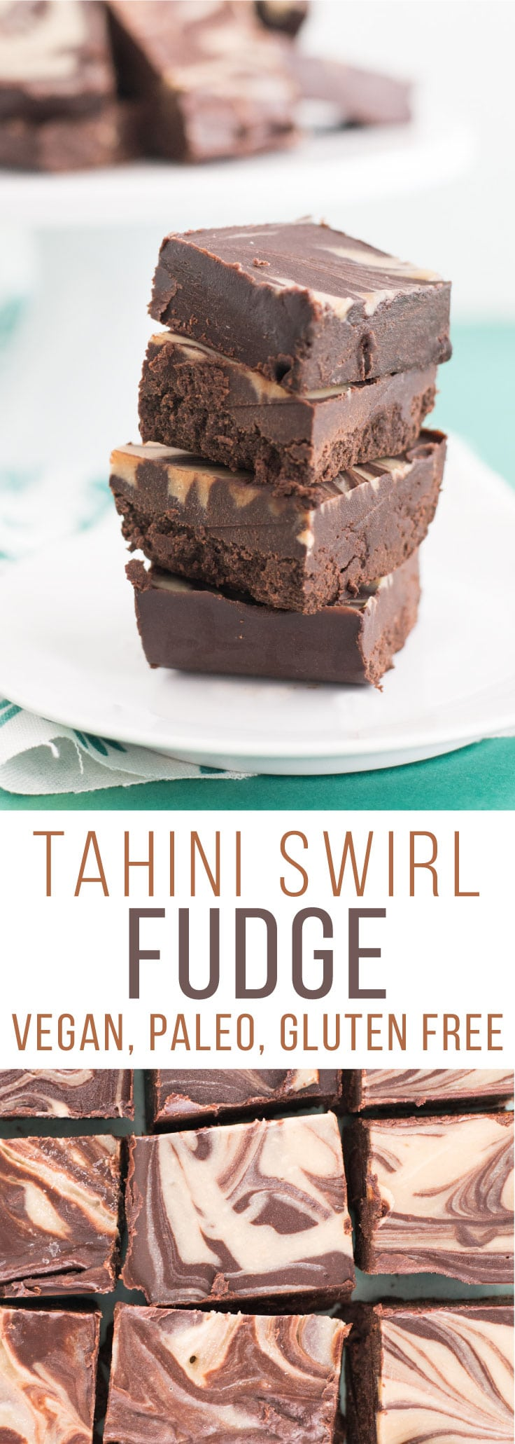 Tahini Swirl Fudge -- This fudge is so rich and decadent sans all the butter, dairy, and refined sugar. Tahini, coconut oil, maple syrup, and chocolate create this vegan fudge masterpiece.  | mindfulavocado