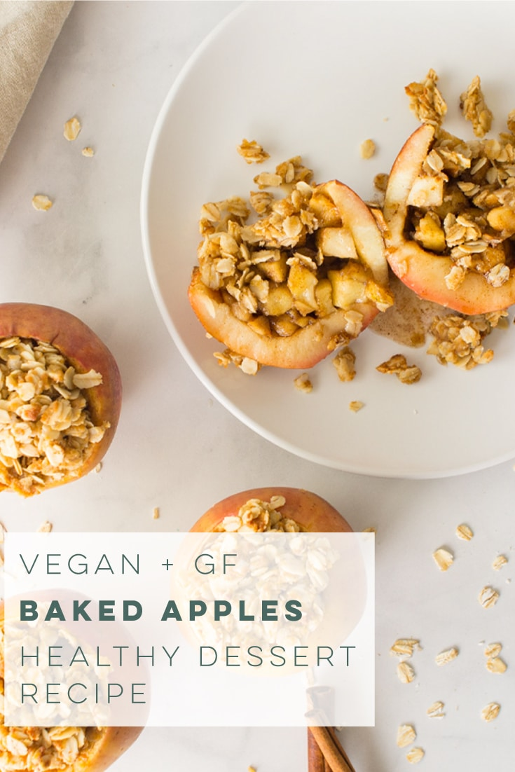 Vegan and GF baked apples are PERFECT for apple season! Healthy and easy to make, this dessert recipe is the BEST! #vegan #glutenfree #healthydessert #bakedapples #fallrecipes #veganthanksgiving #apples | Mindful Avocado