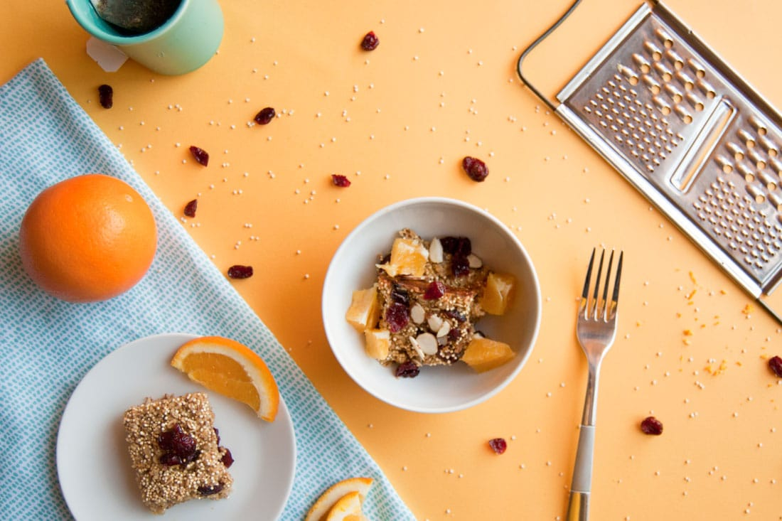Cranberry Orange Quinoa Breakfast Bake -- Start your day right with this vegan gluten free breakfast recipe. | mindfulavocado
