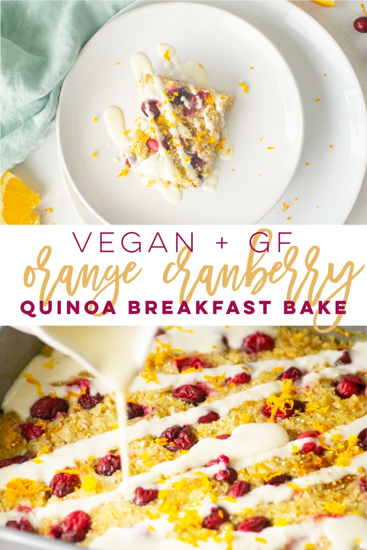 Vegan Cranberry Orange Quinoa Breakfast Bake -- This quick and easy breakfast recipe is made with natural ingredients and is SO delicious! Leftovers keep well for meal prepping or this dish is perfect for weekend breakfast and brunches. You need to try this tasty vegan and gluten-free breakfast recipe! #vegan #vegetarian #glutenfree #plantbased #cleaneating #healthy #breakfast #quinoabreakfastbake | Mindful Avocado