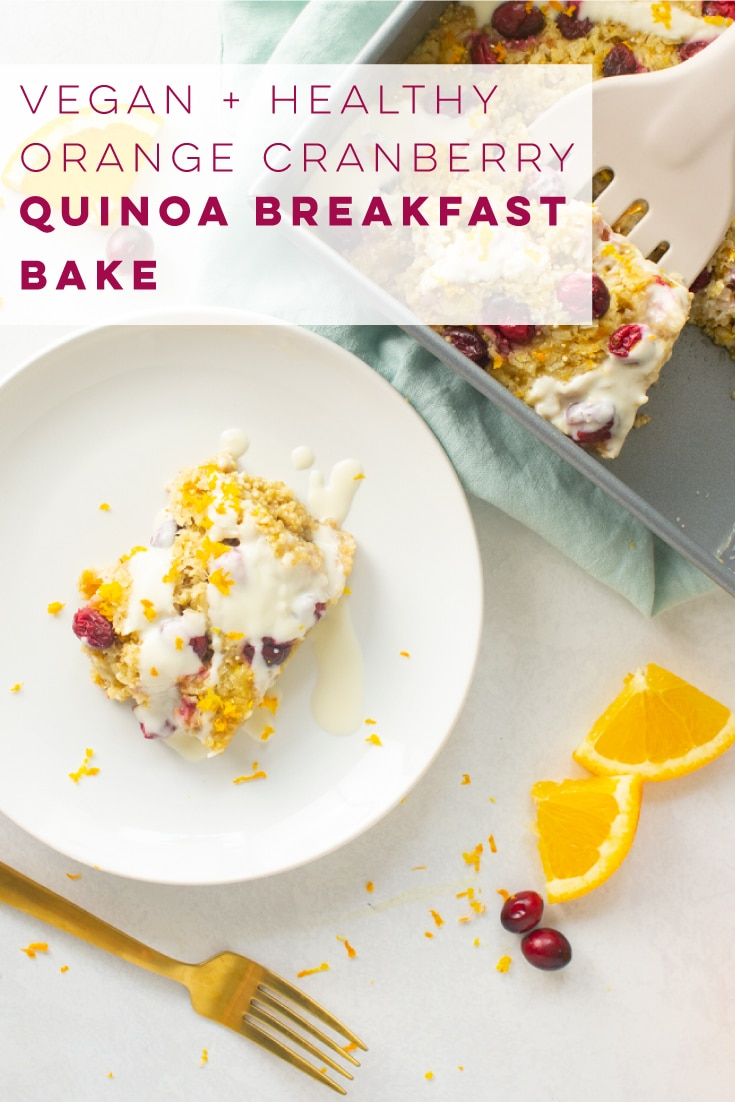 Orange Cranberry Quinoa Breakfast Bake -- This vegan and GF breakfast is so easy to make and full of flavor! Perfect for weekday breakfast and brunches alike. #vegan #vegetarian #glutenfree #plantbased #cleaneating #healthy #breakfast #quinoabreakfastbake | Mindful Avocado