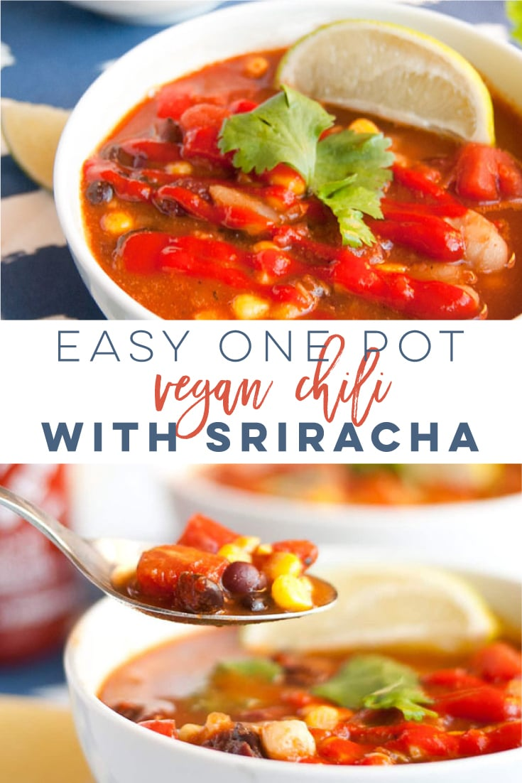 Vegan Sriracha Chili -- This hearty chili is comforting on a cold day and makes a great wholesome plant-based meal. Packed with beans, veggies, and delicious Sriracha, this chili recipe is the perfect dinner! Pair with warm cornbread for the ultimate meal. #vegan #vegetarian #soup #healthy #veganchili #cleaneating | Mindful Avocado
