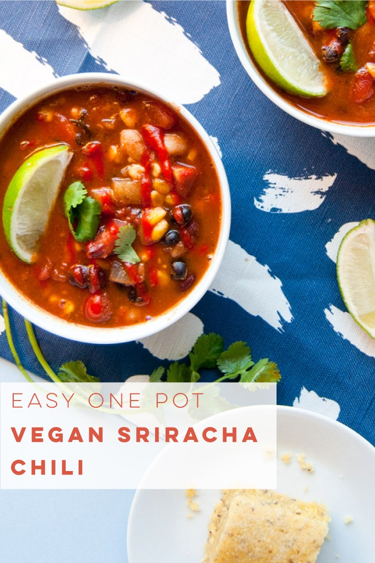 Vegan chili recipe with Sriracha is the PERFECT amount of heat and so flavorful! Super easy to make, and only requires one pot. #vegan #vegetarian #soup #healthy #veganchili #cleaneating | Mindful Avocado
