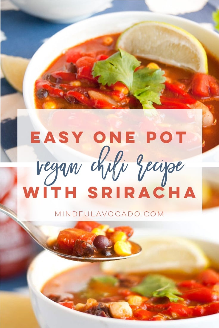 Vegan chili is the BEST meal for Fall and Winter. This hearty and healthy stew is so easy to make and packed with flavorful ingredients. #vegan #vegetarian #soup #healthy #veganchili #cleaneating | Mindful Avocado