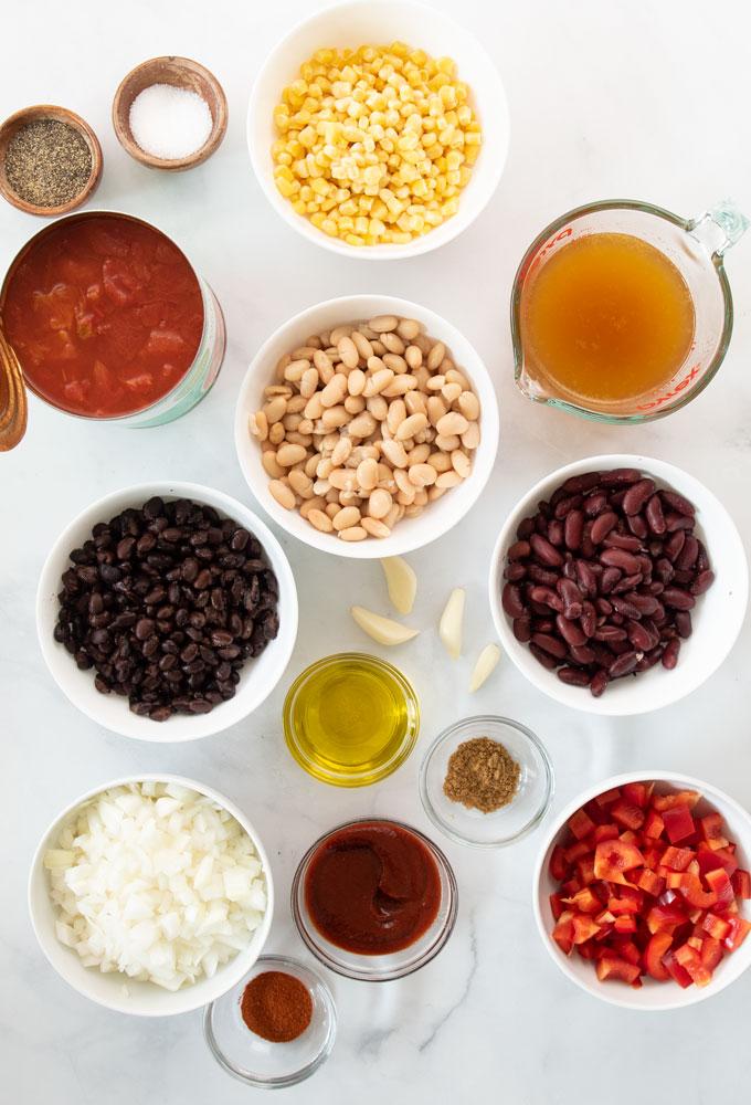 ingredients for vegan chili recipe