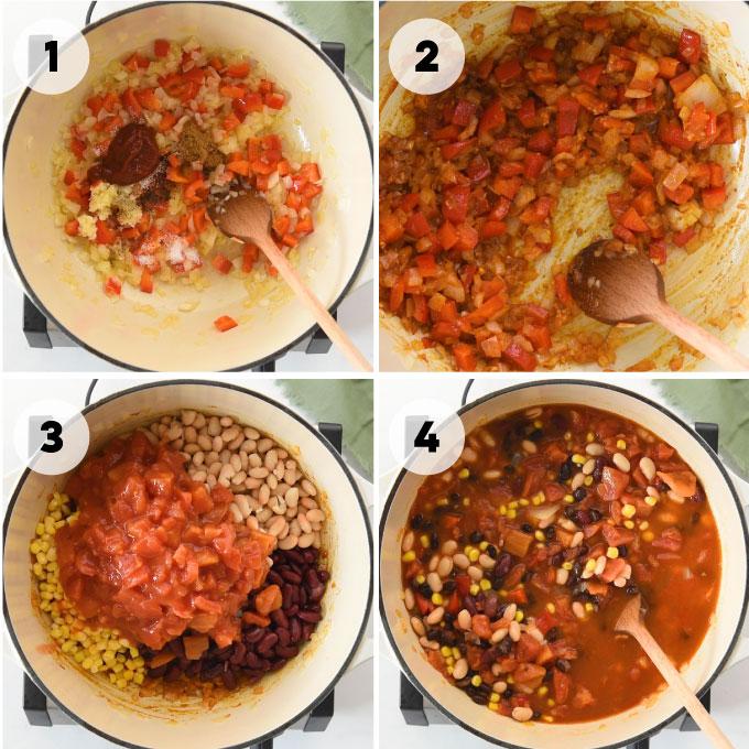 steps on how to make vegan chili