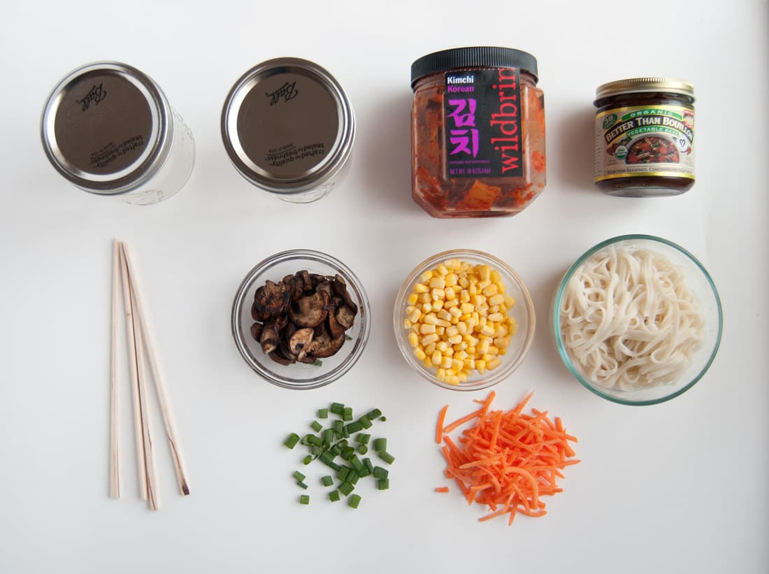 ingredients for vegan mason jar ramen