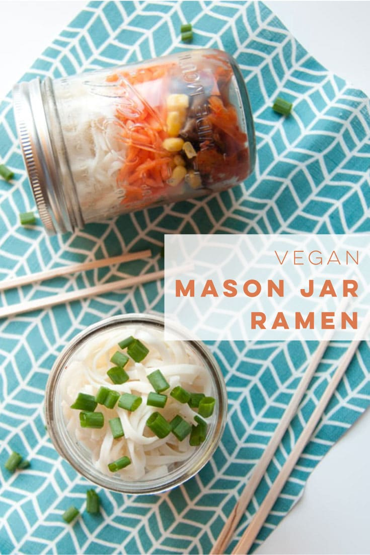 This vegan mason jar ramen is the EASIEST lunch to take to work. Simply layer your broth base, veggies, noodles, and any toppings you desire. Simply fill with warm water when ready to eat! #veganramen #veganlunch #masonjarrecipes #worklunch - mindfulavocado
