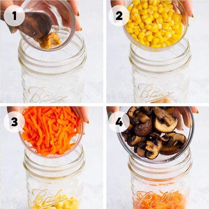 adding veggies to a mason jar