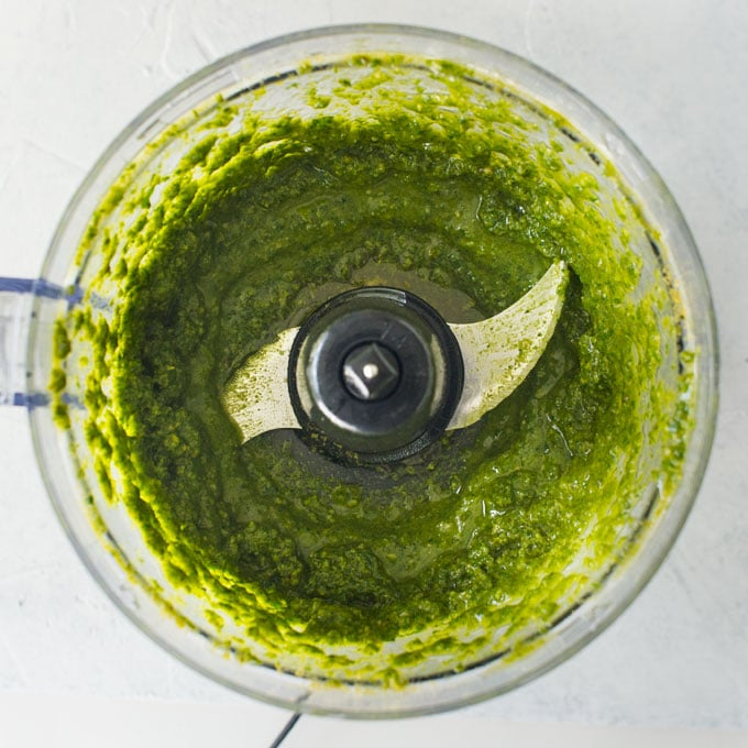 lemon pesto in food processor