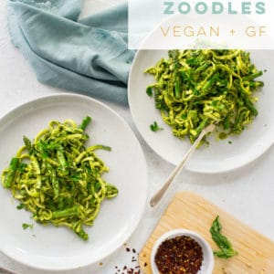 This zoodle recipe is so easy to make and is vegan and gluten free! Learn how to make zucchini noodles and pair them with asparagus and a lemon pesto sauce! #zoodles #zucchininoodles #vegan #lowcarb #glutenfree #lemonpesto #pestorecipe | Mindful Avocado