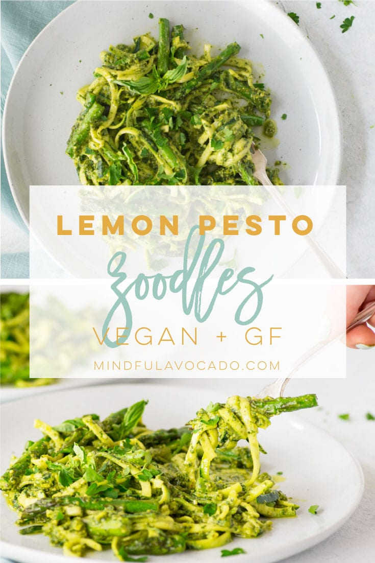 Zoodles aka zucchini noodles are the perfect gluten free and low carb recipe that's a perfect replacement for pasta. Paired with asparagus and a delicious lemon pesto sauce, this dinner recipe is the BEST! #zoodles #zucchininoodles #vegan #lowcarb #glutenfree #lemonpesto #pestorecipe   Mindful Avocado
