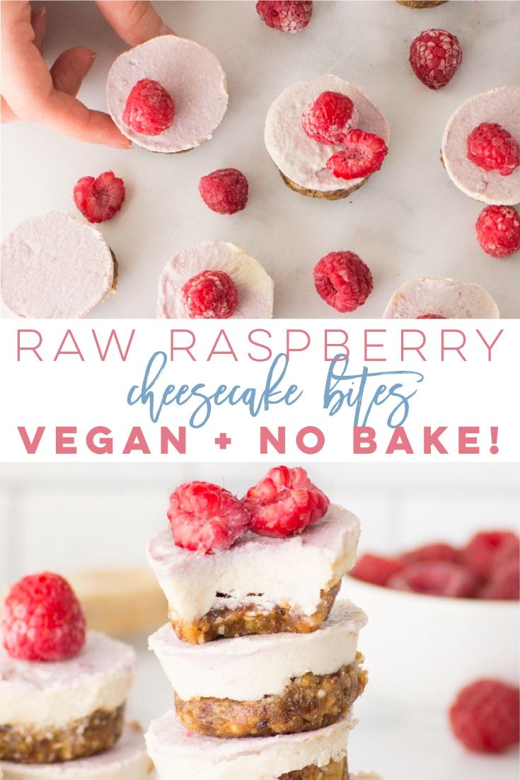 Raspberry Raw Cheesecake Bites -- These vegan and gluten-free bite-sized \