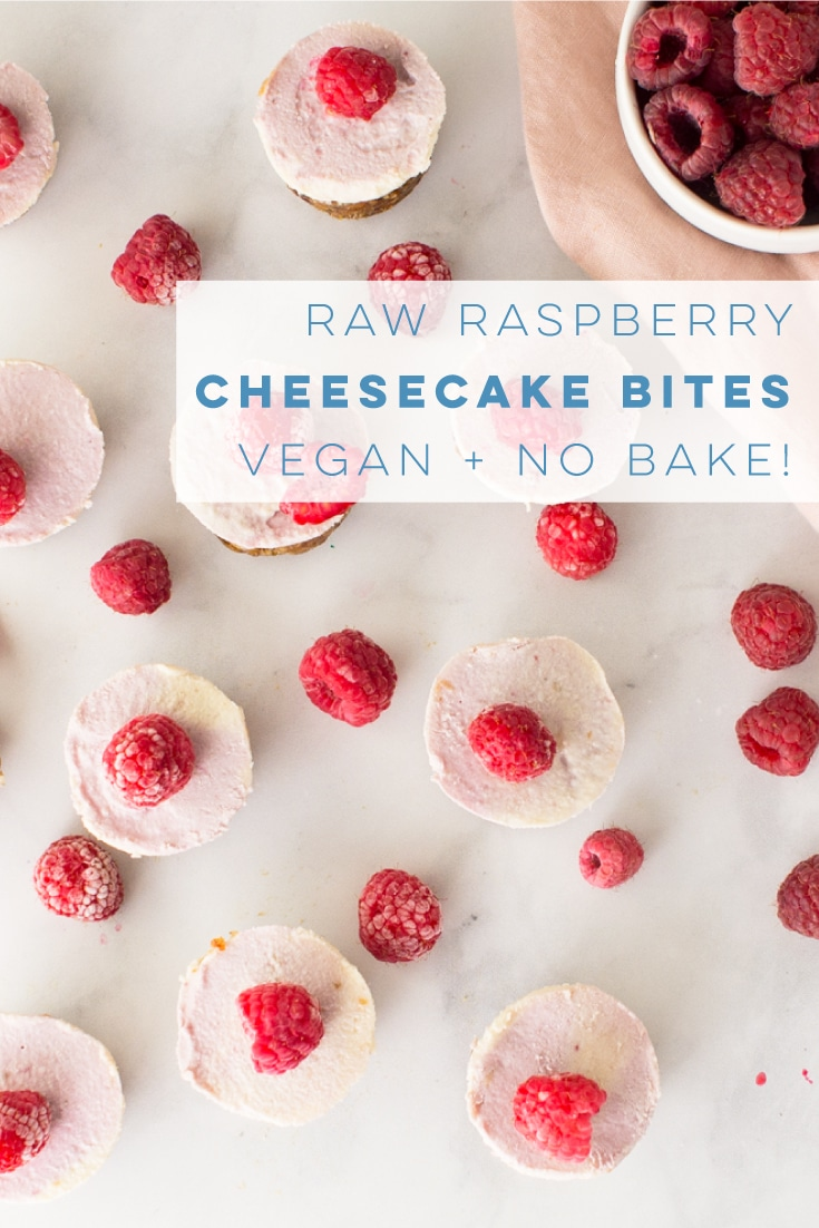 These mini vegan cheesecake bites are SO SIMPLE to make and the perfect healthy dessert recipe. Creamy cheesecakes with a raspberry puree are so delicious! #vegan #glutenfree #paleo #vegandessert #raw #raspberrycheesecake #healthy | mindfulavocado