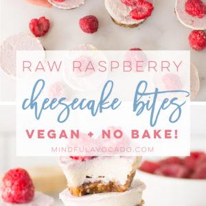 Raspberry raw mini cheesecake bites are the perfect no bake recipe. So easy to make and healthy! #vegan #glutenfree #paleo #vegandessert #raw #raspberrycheesecake #healthy | mindfulavocado