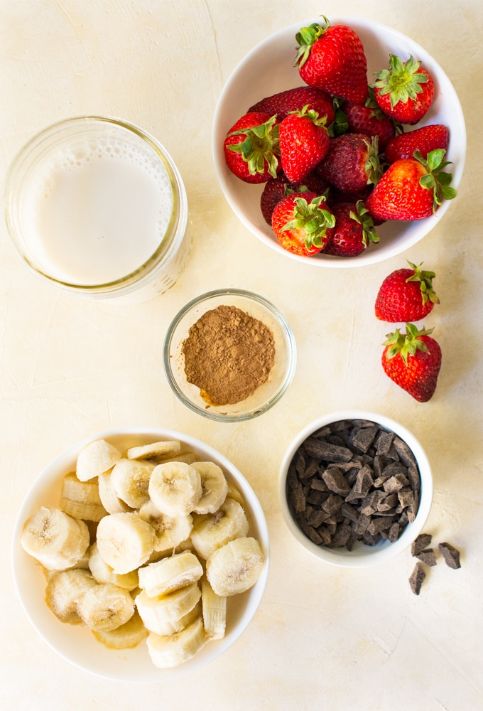 ingredients for banana split smoothie