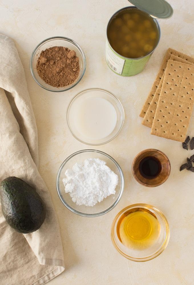 ingredients for no bake vegan smores parfaits