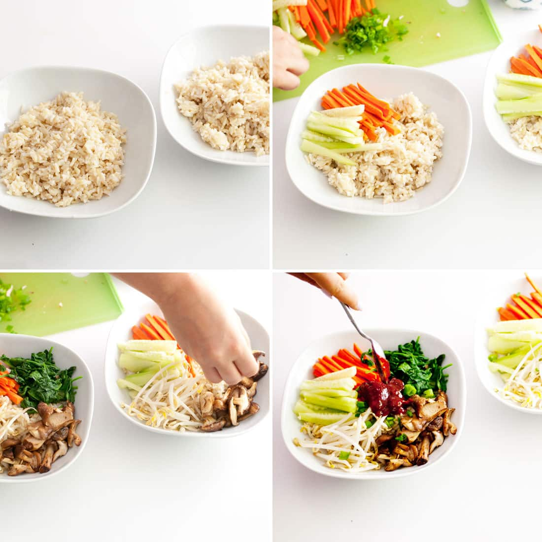 four step process to assembling rice bowl. brown rice in white bowl, hand adding vegetables, hand spooning sauce on top.