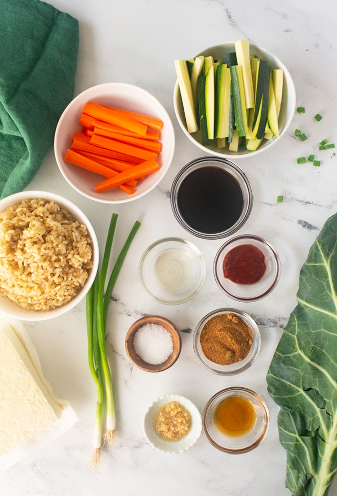 ingredients for vegan bibimbap bowls