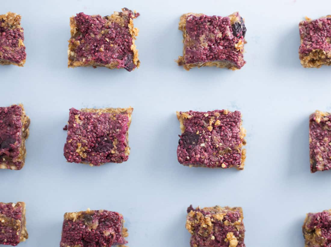 PB & J Snack Bars -- These peanut butter and jelly inspired bars are great for on the go snacking. Swap out the pb with almond butter for a Whole 30, vegan, gluten free snack. | mindfulavocado