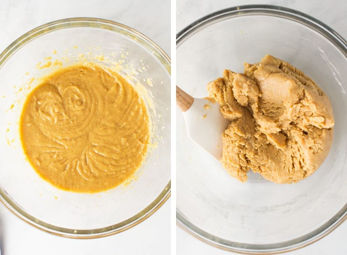 peanut butter bar dough in mixing bowl