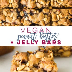 Vegan Peanut Butter and Jelly Bars -- Layers of peanut butter and jelly come together to form these DELICIOUS snack bars! This recipe is so easy to make and is the perfect snack or dessert that both adults and kids will go crazy over. #pbandj #peanutbutter #vegandessert #vegansnack #peanutbutterandjelly | Mindful Avocado