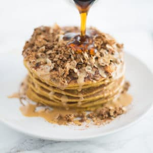 Vegan Chickpea Flour Pumpkin Pancakes -- This healthy, vegan pumpkin pancake recipe is not only gluten free, but packed with REAL pumpkin and whole foods. Try these healthy pancakes for your next breakfast or brunch! | mindfulavocado