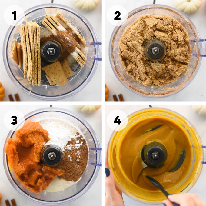 ingredients for mini pumpkin pies in food processor