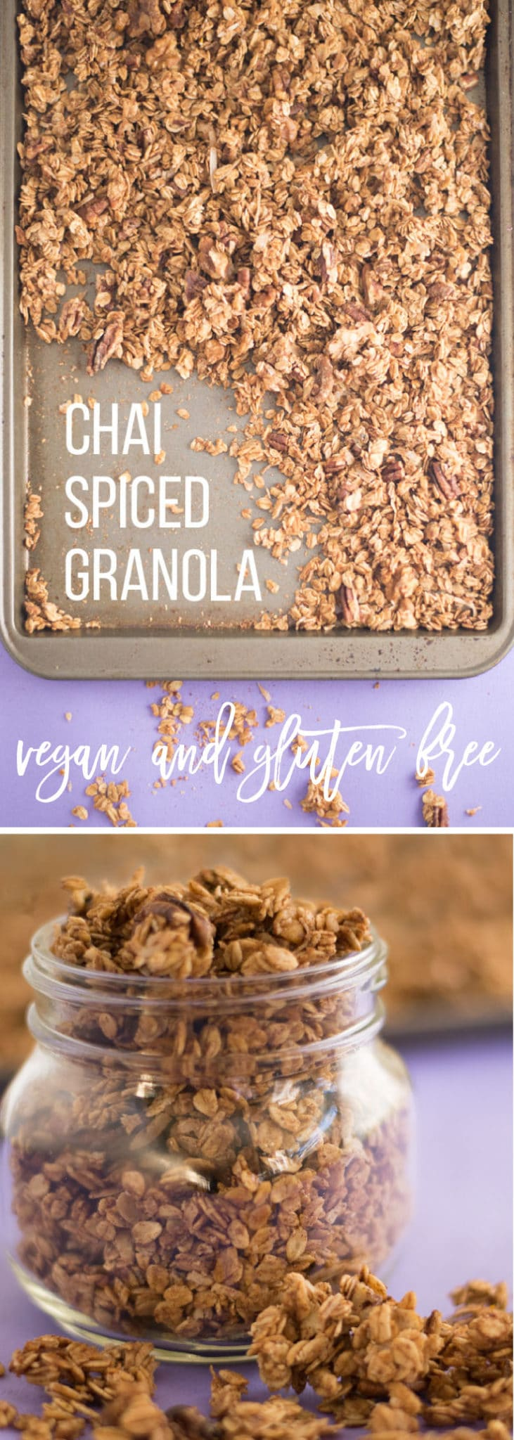 Super Chunky Chai Spice Granola -- This simple vegan granola recipe only takes 7 ingredients and has perfect chunks! Such a yummy topping for yogurt or snacking on the go. #veganbreakfast #vegansnacks #cleaneating #healthy | mindfulavocado