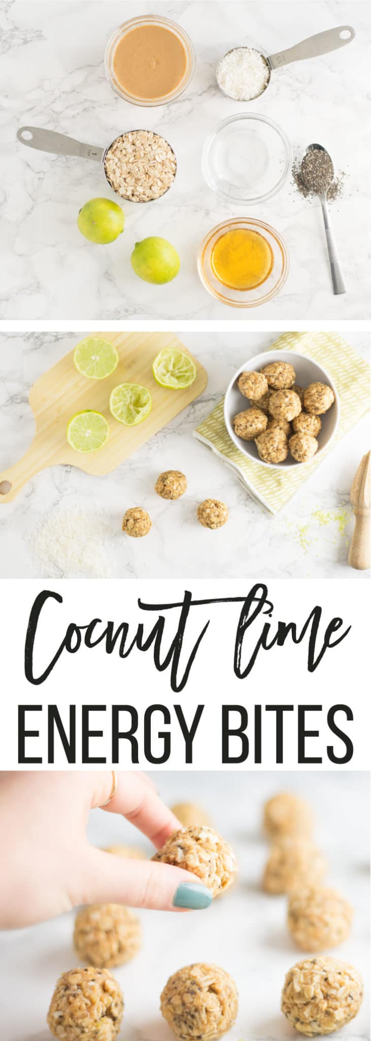 Coconut Lime Energy Bites -- This snack only takes 7 ingredients and is the best vegan and gluten free treat for on the go. #vegansnack #cleaneating #healthy #snacks | mindfulavocado