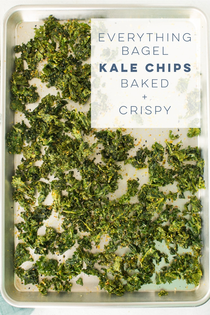 Everything Bagel Kale Chips -- This kale chip recipe only requires 5 ingredients and is so EASY to make! Baked to perfection, plus tips on how to make them crispy. This is the perfect vegan salty snack! #healthy #vegan #vegansnack #cleaneating #vegetarian | mindfulavocado