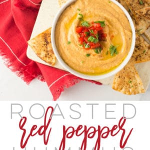 Roasted Red Pepper Hummus -- This hummus recipe is super simple to make and calls for only a handful of ingredients. Pair it up with some fresh vegetables or homemade pita chips to have a wholesome, vegan, gluten-free snack. #healthysnacking #vegan #vegetarian #cleaneating #hummus #glutenfree | Mindful Avocado