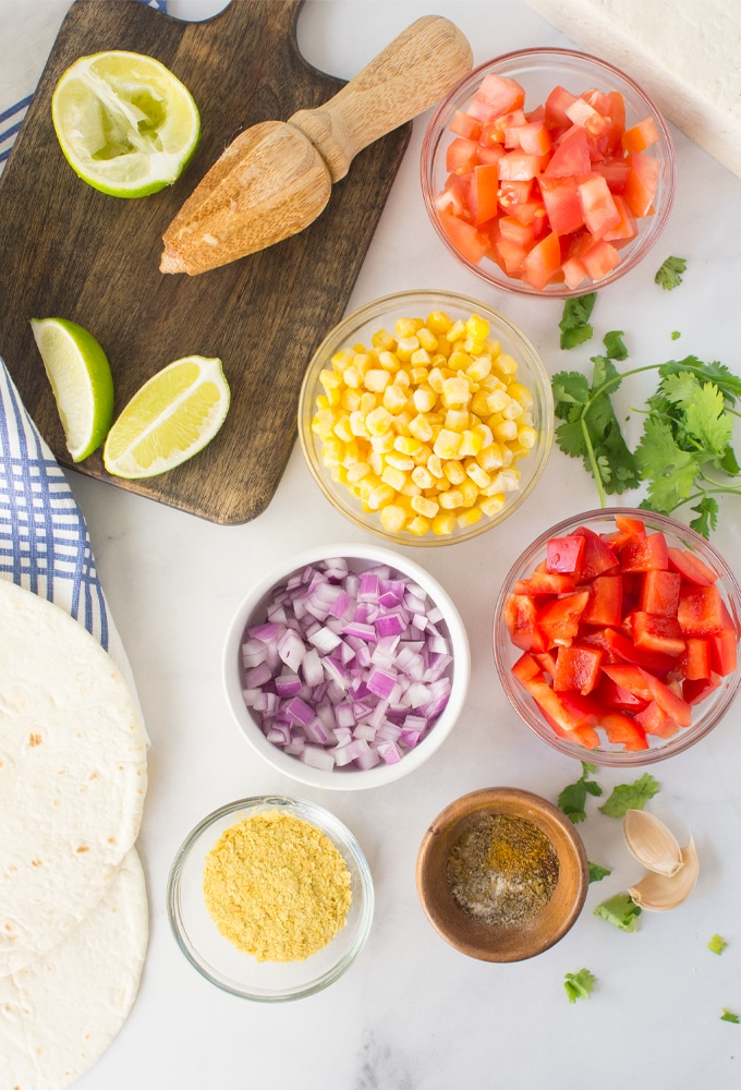 ingredients for tofu scramble tacos