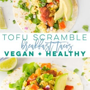 Tofu Scramble Tacos -- This tofu scramble recipe is so easy to make and is packed with veggies and protein. Upgrade your breakfast routine or try these healthy vegan tacos for lunch or dinner. They are perfect for any time of the day and so easy to make! #vegan #vegetarian #glutenfree #tacos #healthy #cleaneating #veganbreakfast #tofuscramble | mindfulavocado