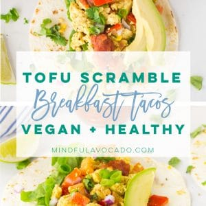 Tofu scramble is so easy to make and the PERFECT vegan substitute for eggs. Make easy breakfast tacos with this simple and healthy recipe! #vegan #vegetarian #glutenfree #tacos #healthy #cleaneating #veganbreakfast #tofuscramble | mindfulavocado