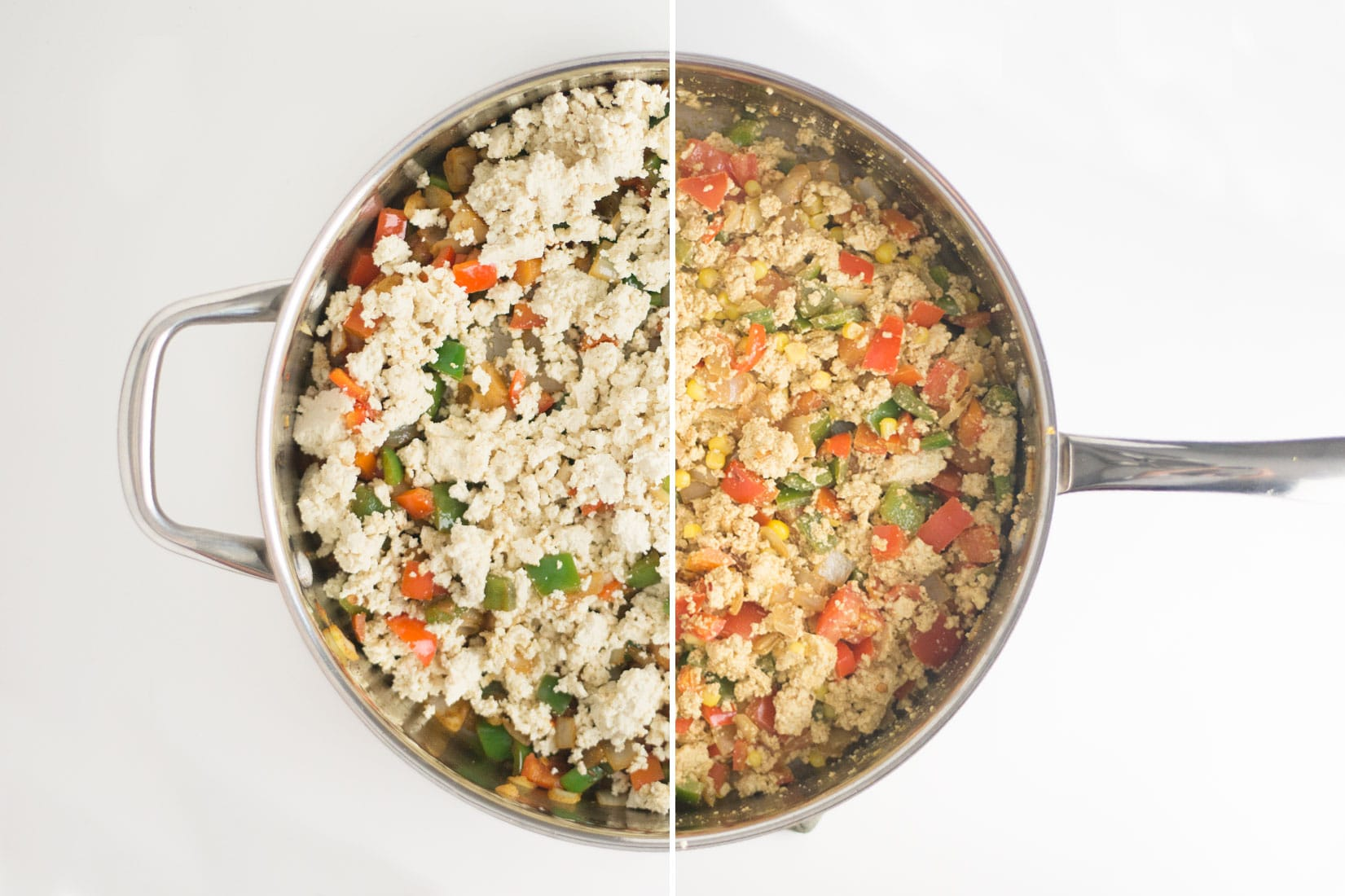 large pan with tofu scramble and vegetables