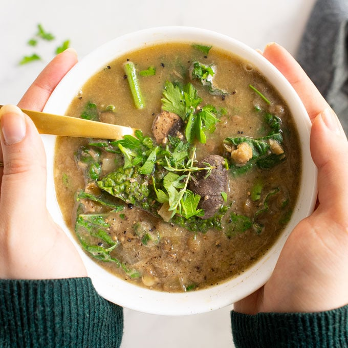 hands holding bowl of mushroom lentil soup. topped with parsley.