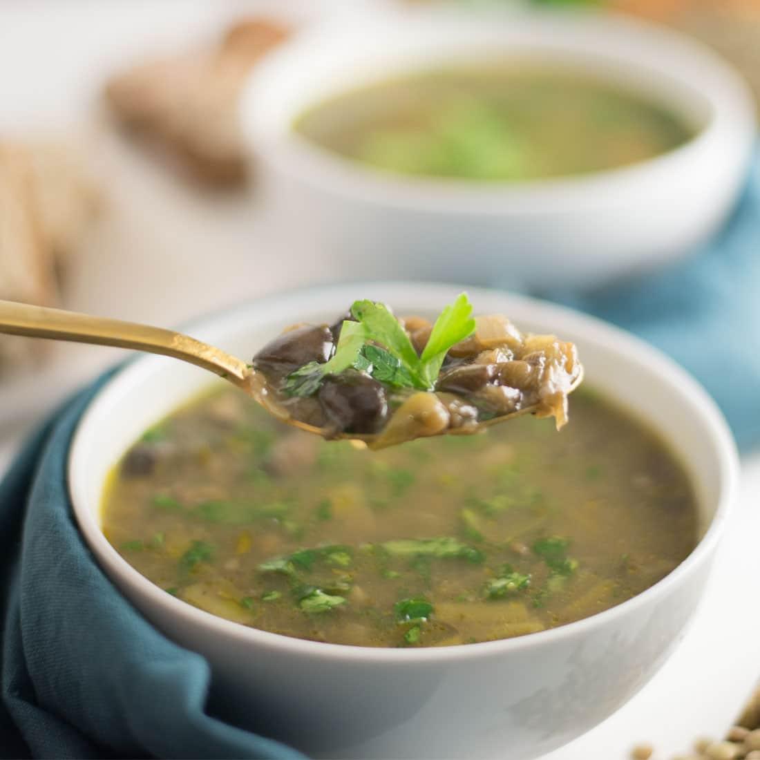 bowl of vegan mushroom soup with spoon