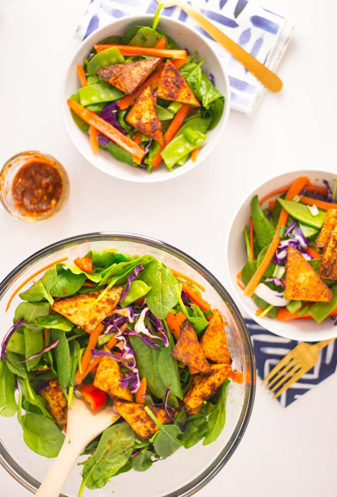 vegan thai salad with red curry tofu