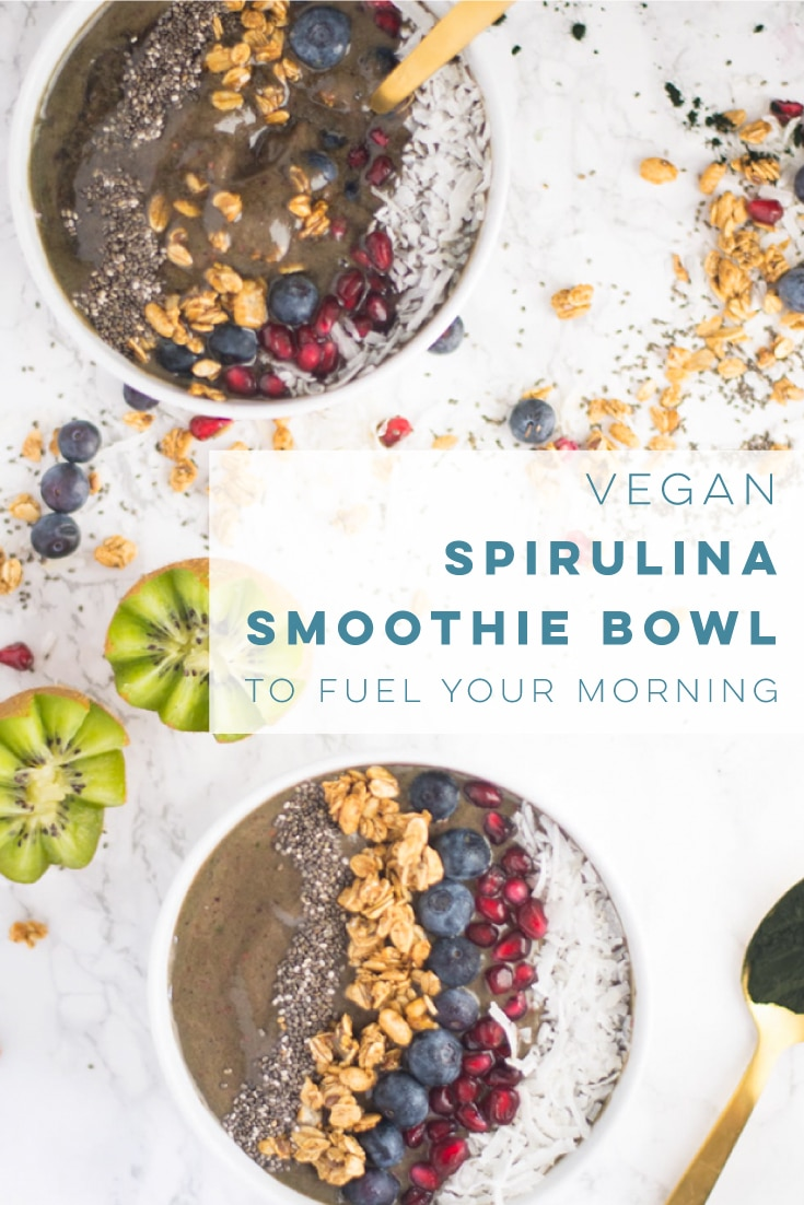 Vegan spirulina smoothie bowls are the BEST way to start your day! You can even make them the night before and just thaw for an easy and healthy breakfast. #vegan #vegetarian #healthy #cleaneating #breakfast #smoothiebowl #detox | mindfulavocado