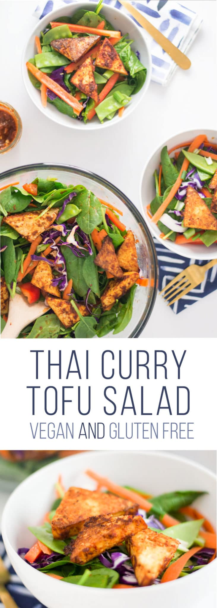 Thai Salad with Red Curry Tofu -- This Thai-inspired tofu has the perfect amount of spice and it so easy to make. A salad packed with veggies and topped with plant-based protein, this healthy recipe is perfect for lunch! Try this salad for filling vegan and gluten-free meal. #cleaneating #healthy #vegan #vegetarian #salad #thaifood | mindfulavocado