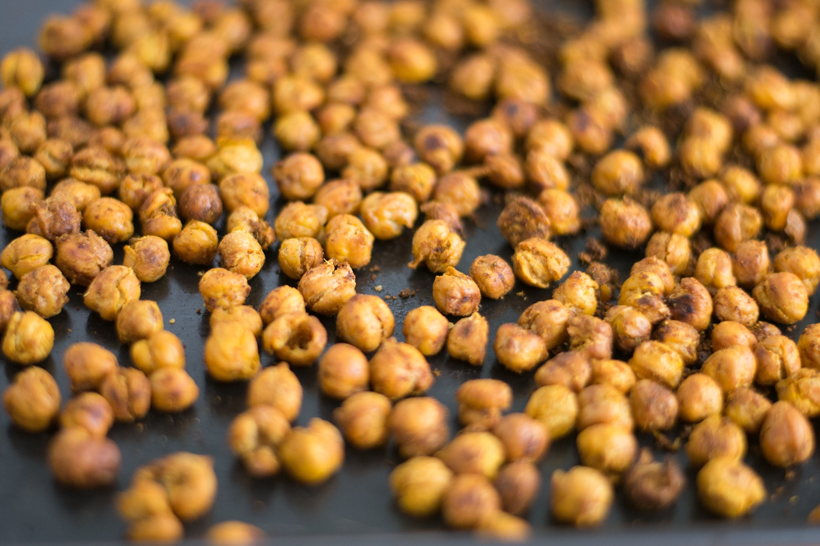 baking sheet of roasted chickpeas